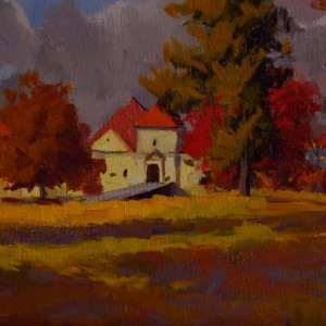 fall landscape painting of castle