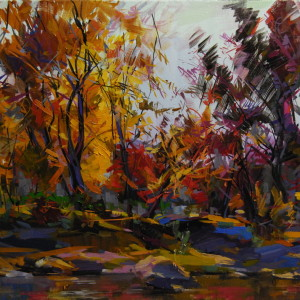 orange brown purple fall painting in oil on canvas