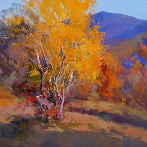 gold fall landscape art with in orange and blue colors