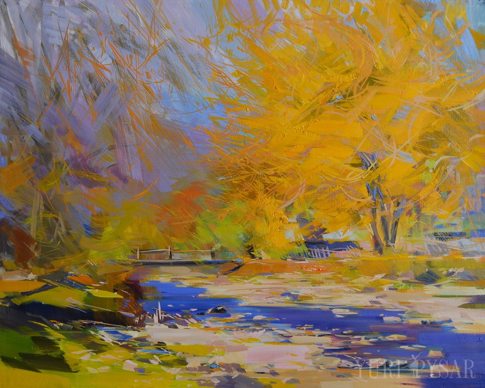 картина маслом пейзаж золота осінь