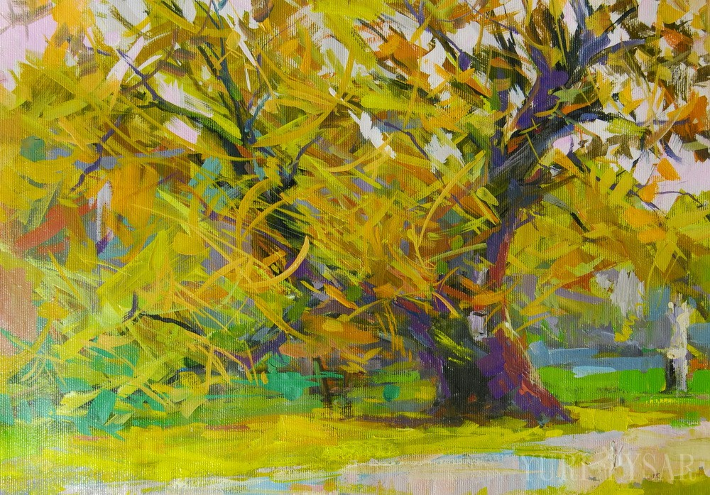 golde autumn painting of a beautiful tree in oil on canvas