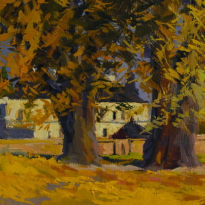oil paint of a golden autumn tree