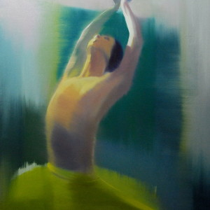 figurative painting of ballerina inspired by sea