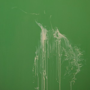 green painting of a ballet dancer in minimalist style