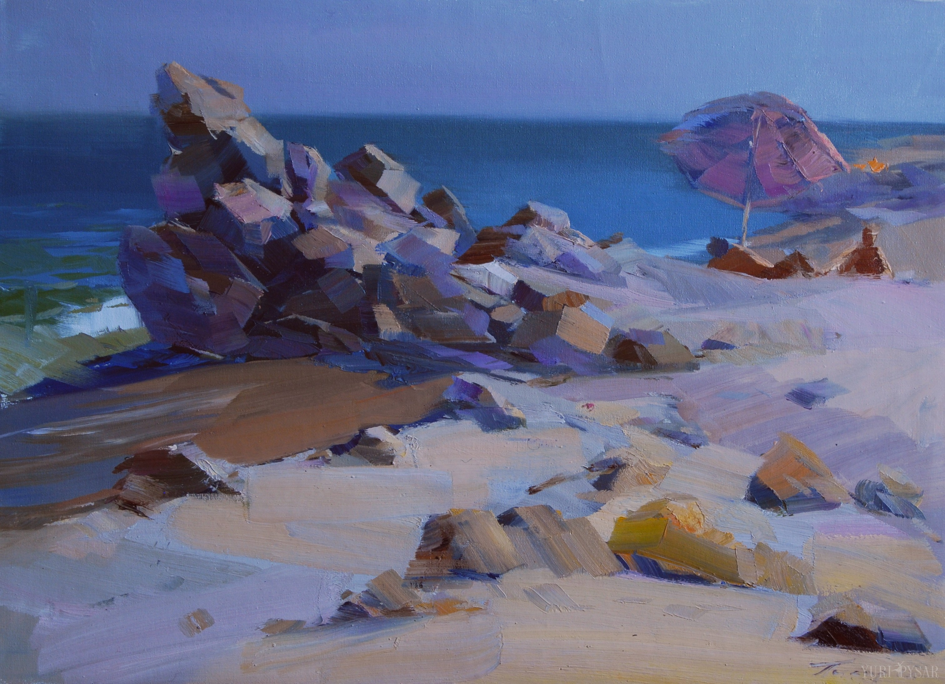 beach painting of rocks