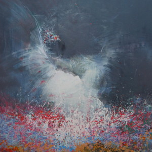 abstract painting of a swan