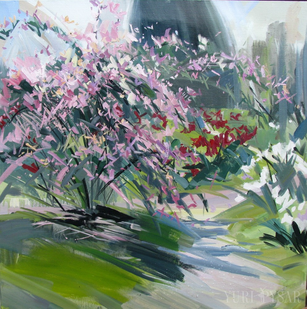 flowers artwork on canvas created in impressionism style,