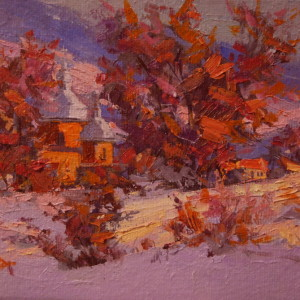 modern landscape art of a winter scenery