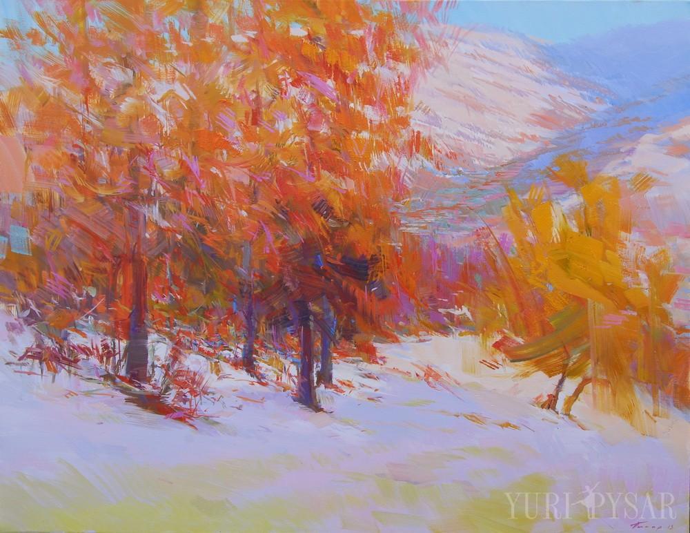 oil artwork of an orange forest in winter
