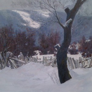 landscape painting of a winter tree in snow