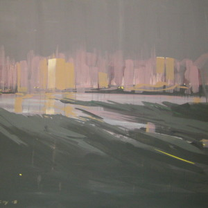 grey abstract painting of kyiv