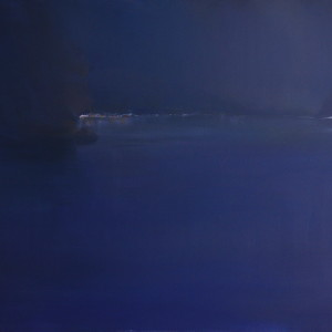 dark blue painting of a sea by night