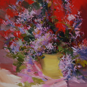 red and lilac painting of flowers in oil
