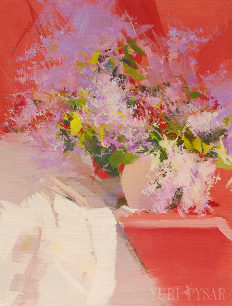 oil painting in red and white of beautiful lilacs