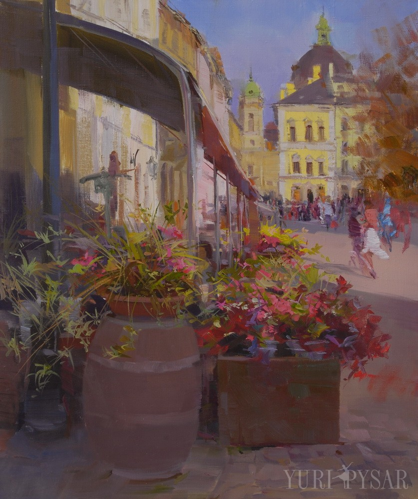 oil cityscape art of Lviv, Lemberg