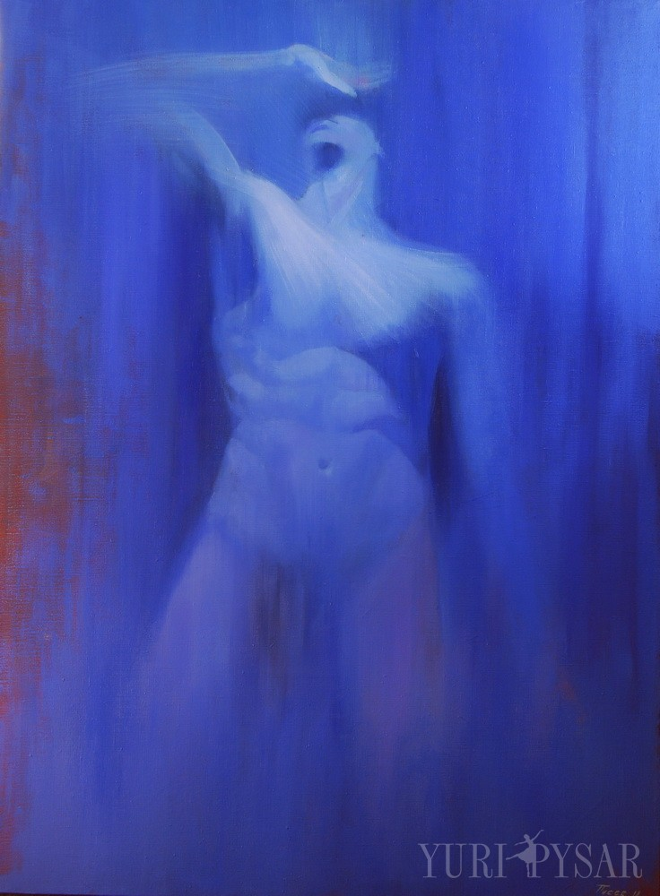 large oil painting of a man body in blue colors