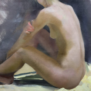 naked woman art painting depicts inclining female figure