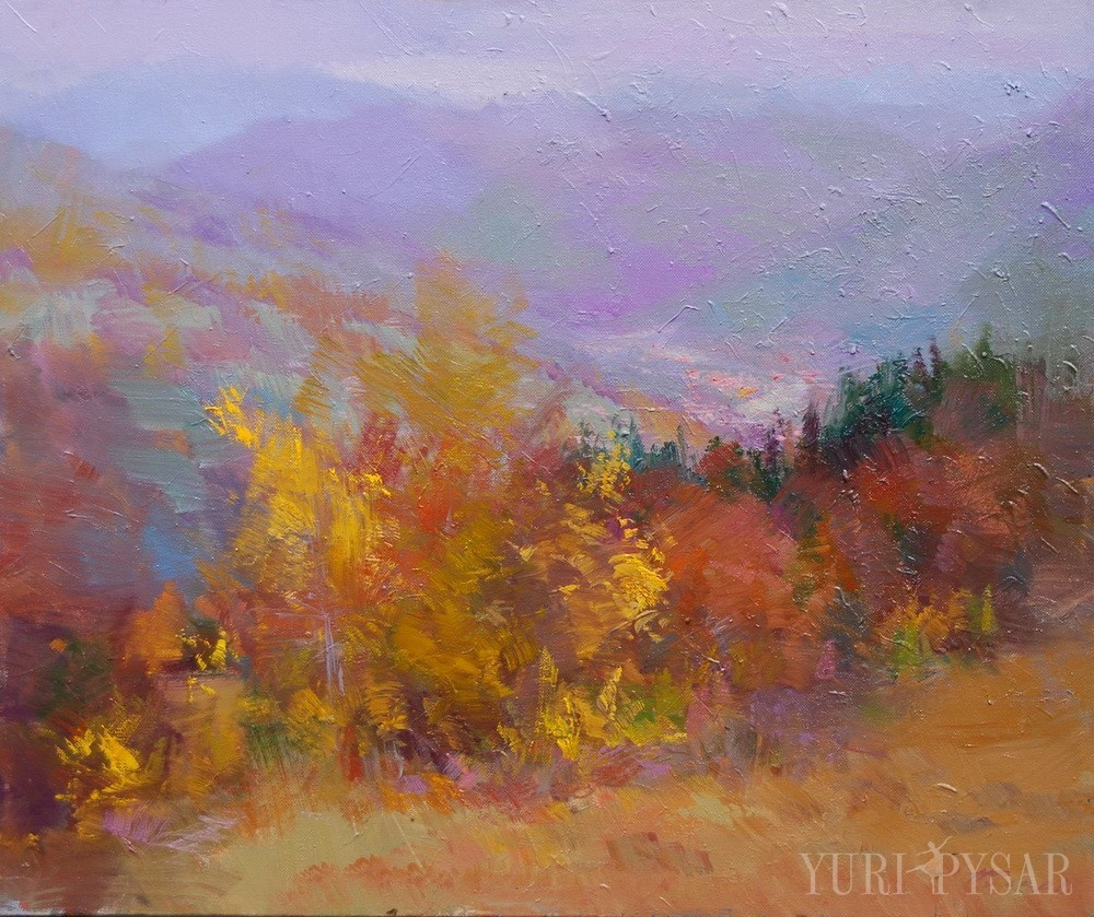 autumn landscape art of mountains scenery