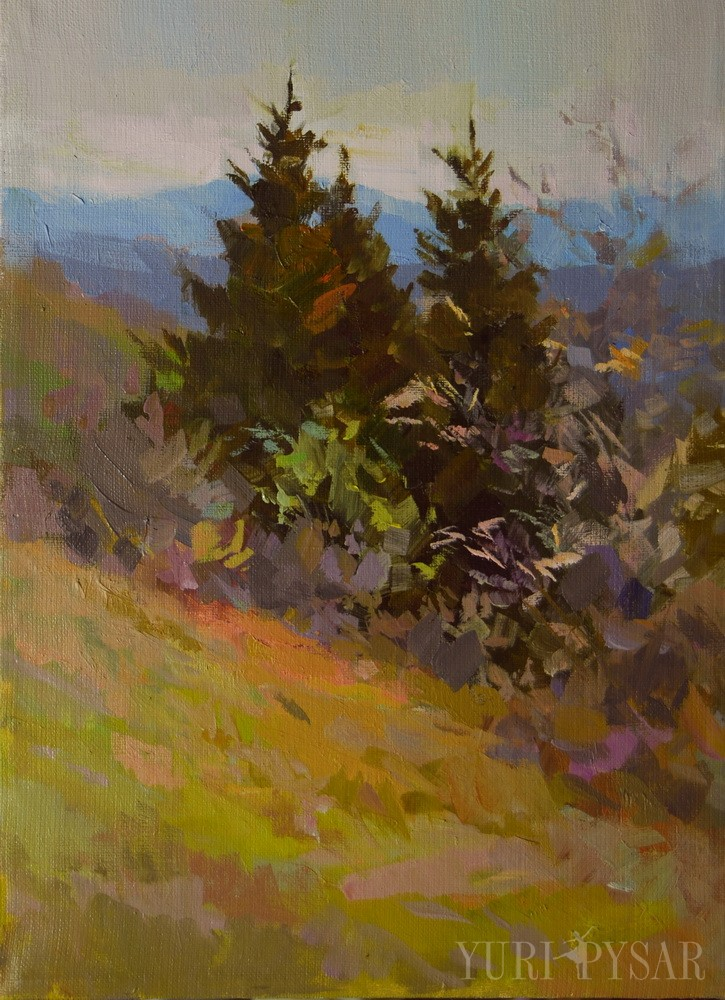 contemporary landscape art of a beautiful firs