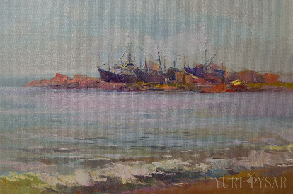sea painting of boat