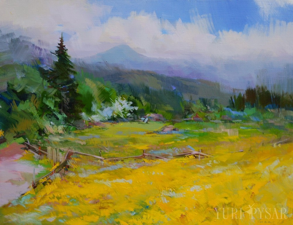 colorful landscape painting of a mountains scenery