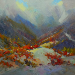 landscape painting in oil on canvas depicting winter mountains