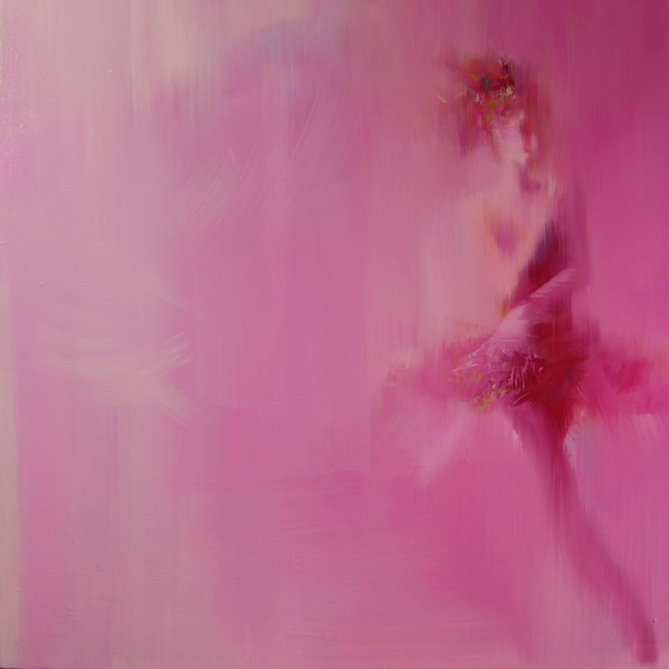 pink canvas art of a ballerina