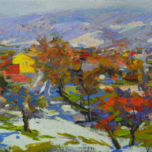 impressionist artwork of a winter in oil on canvas