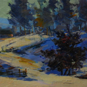 plein air artwork of a winter landscape in oil on canvas