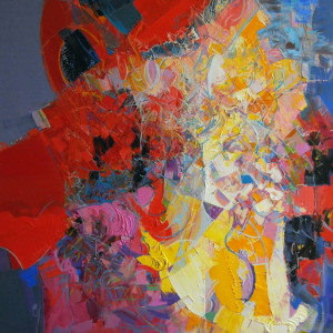 red, blue, yellow abstract painting of woman