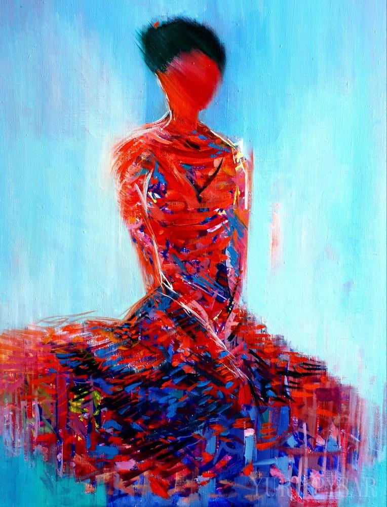 red ballerina art in oil