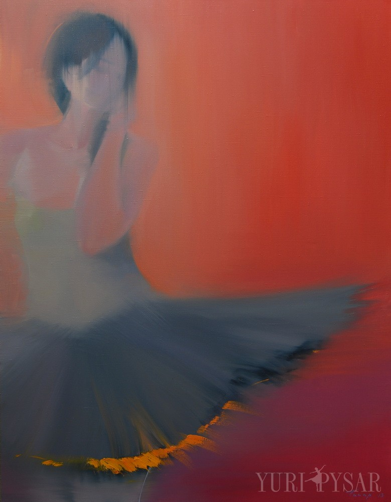 ballet dancer painting in grey and red on canvas