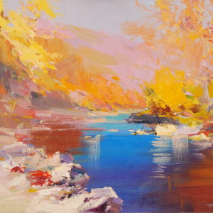 golden autumn painting with the blue river in oil on canvas