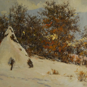 paintiing of a winter scenery in mountains