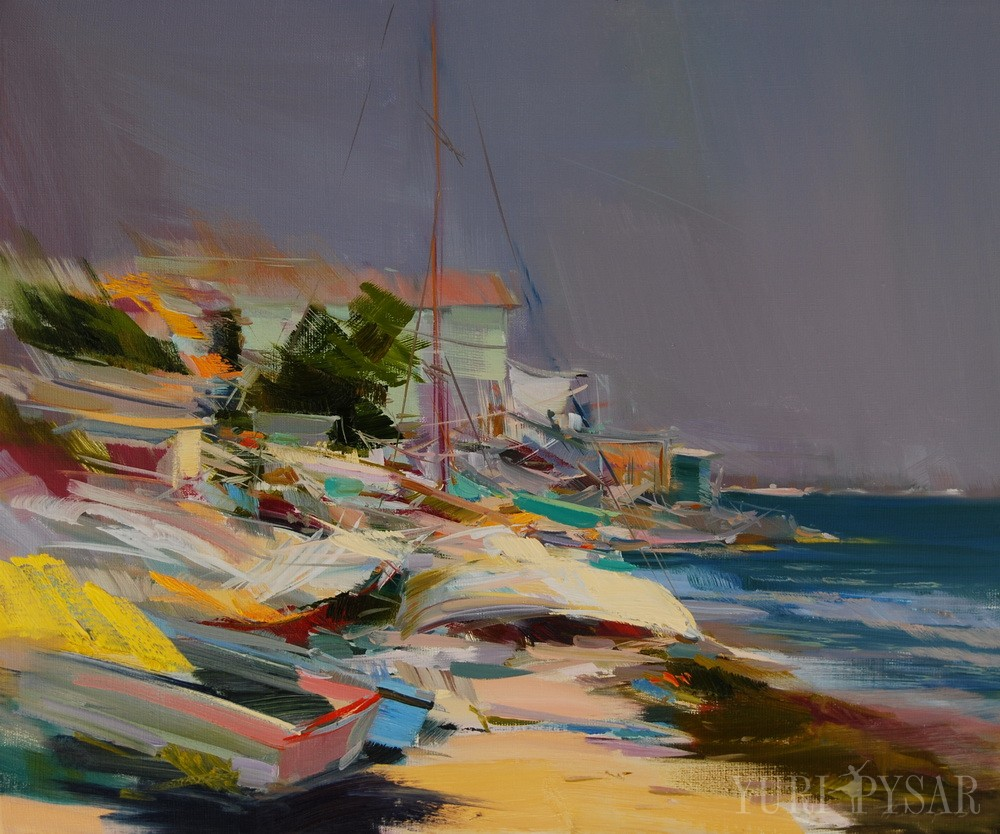 contemporary seascape art of boats on the beach