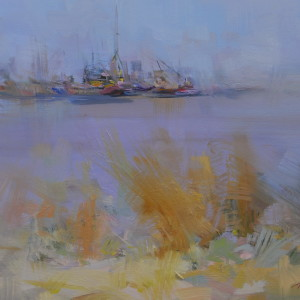 oil painting of boats, sea