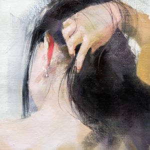 female nude painting hand in hair