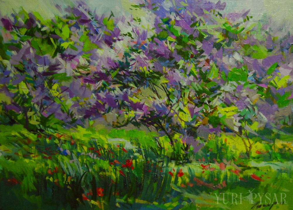 green painting of flowers in spring