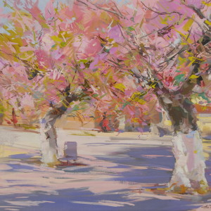 landscape painting of cherry trees in blossom