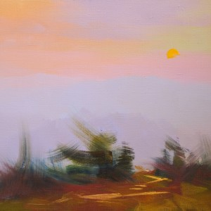 abstract landscape painting of mountanious sunset