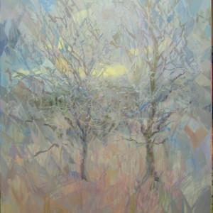 Картина природи пейзаж двох дерев взимку
