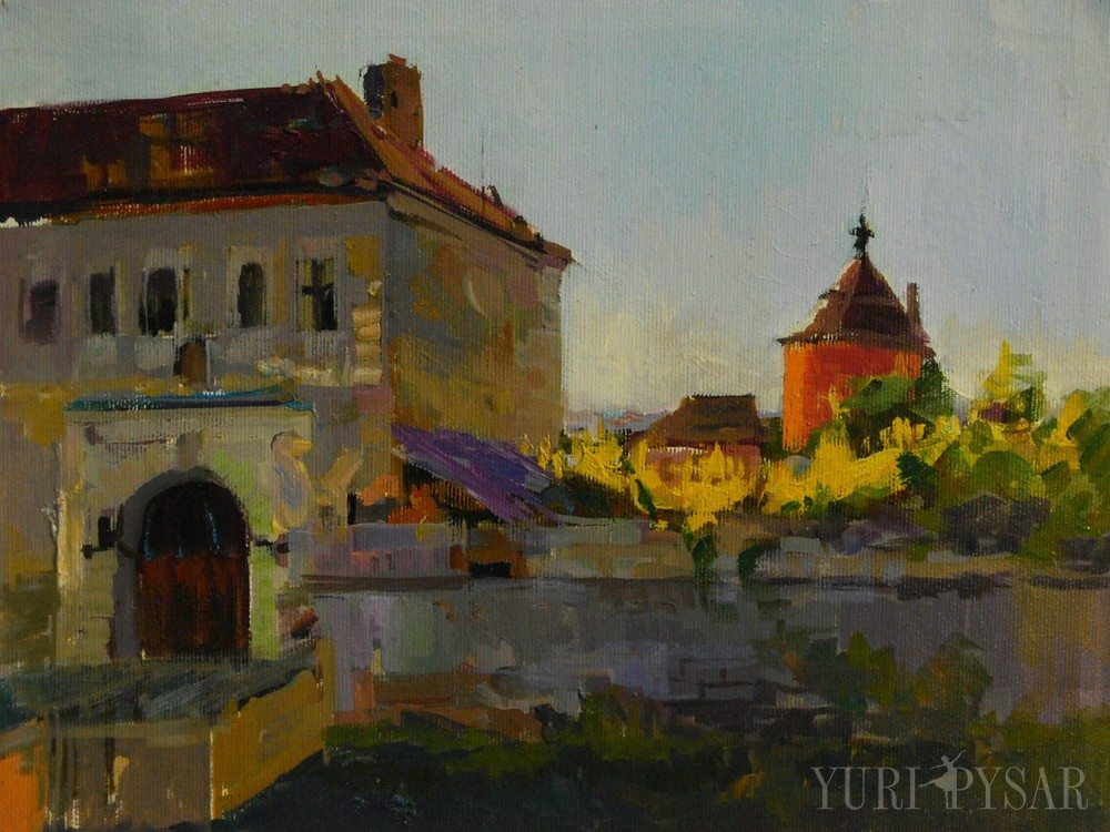 oil painting of an old castle, ukraine