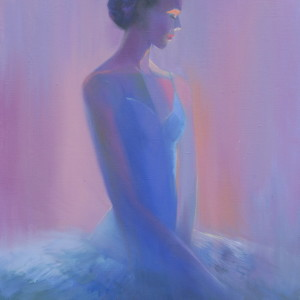 violet painting of a ballet dancer