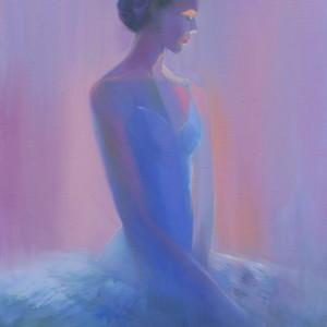 violet painting of a ballet dancer