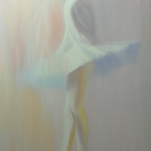 painting of ballerina in white
