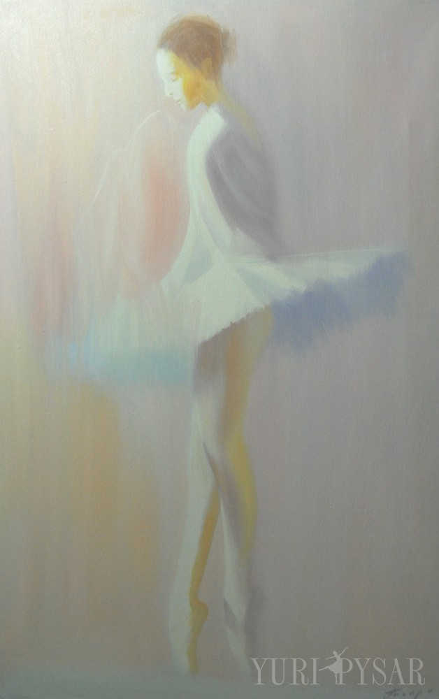 painting of ballerina in white