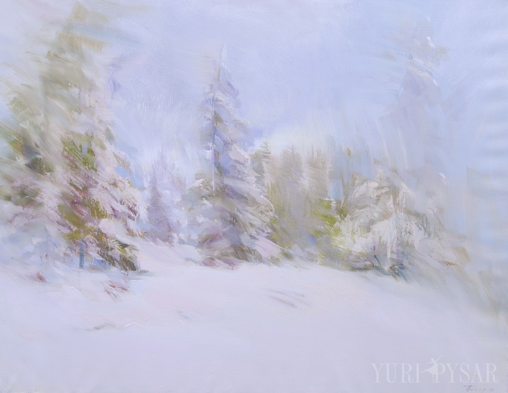 winter forest art in oil on canvas
