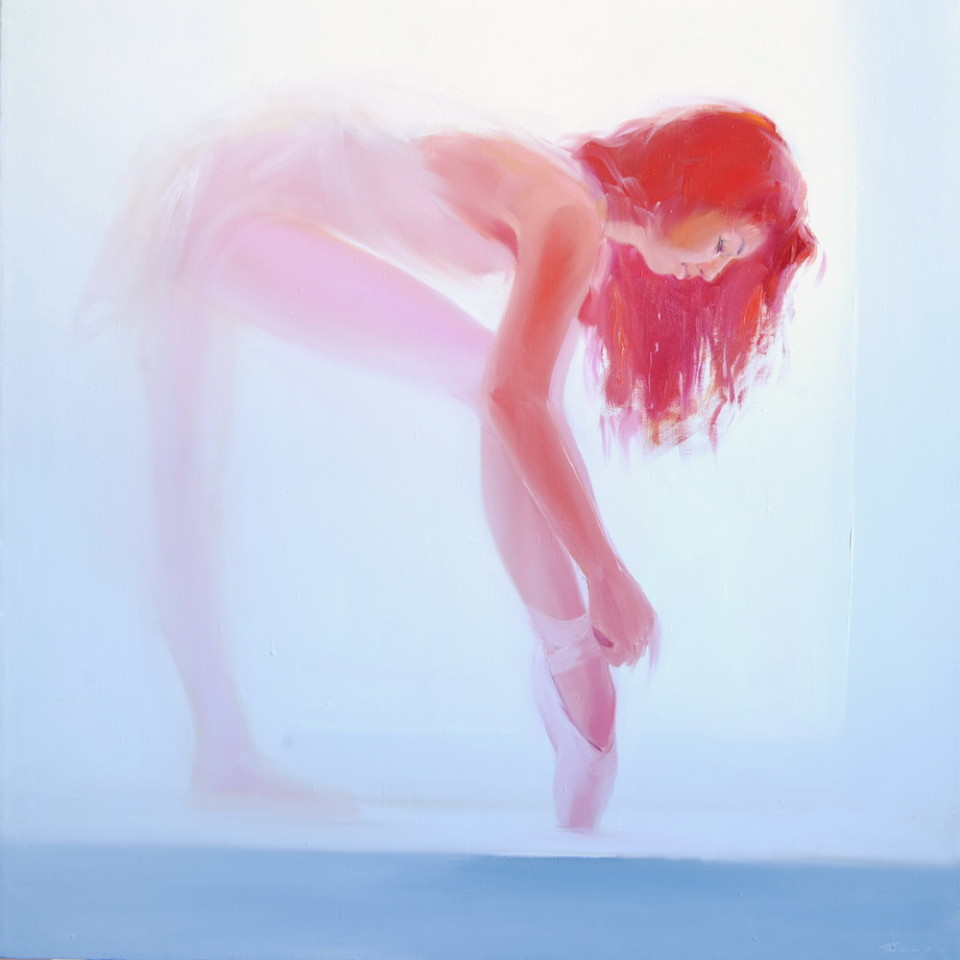 painting of ballerina in blue and light red