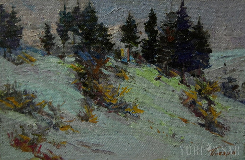 oil painting of a winter scenery