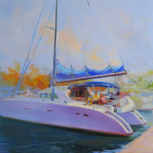 white boat canvas art